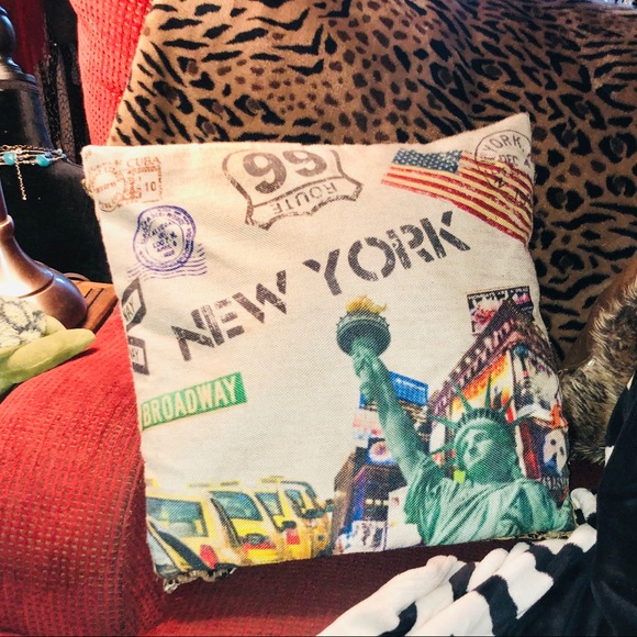 NYC Route 66 Statue of Liberty Canvas Pillow Cover